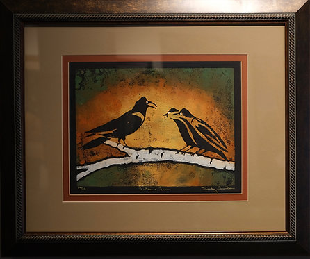 """""""Listen and Learn"""" 24/25 Framed Hand-Pulled Block Print by Sandy Swallow"""