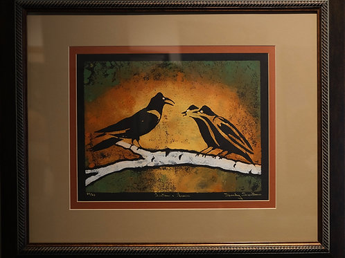 """Listen and Learn"" 24/25 Framed Hand-Pulled Block Print by Sandy Swallow"
