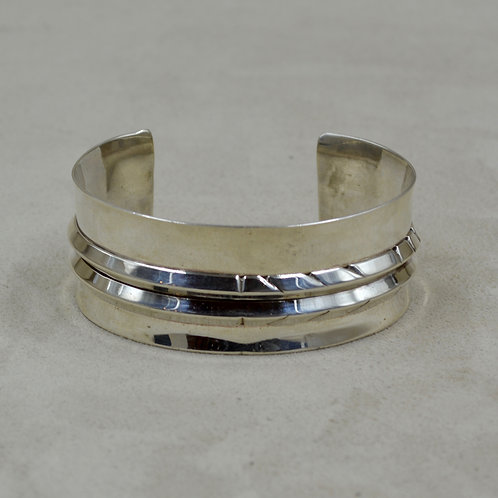 Sterling Silver Hand-forged Asymettrical Cuff w/ 2 Tri-Wire Cuff by Tchin