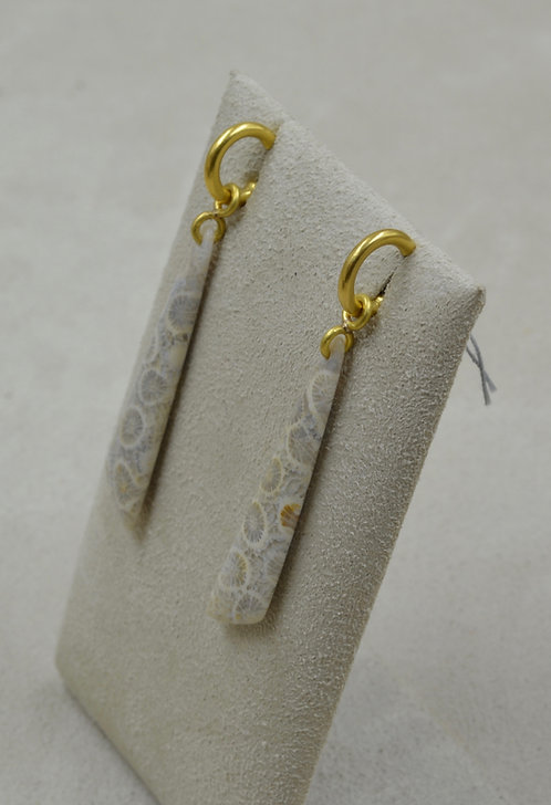 Fossilized Coral, 22k Gold, Drops Only by Pamela Farland