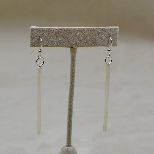 Sterling Silver Half Round Long Dangle Earrings by Jacqueline Gala