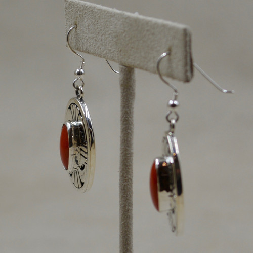 82a2ab3ab Mediterranean Coral & Sterling Silver Wire Earrings by Leonard Nez