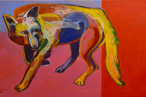 """""""Coyote in Santa Fe Forest"""" Acrylic on Canvas 18"""" x 36"""" by Malcolm Furlow"""