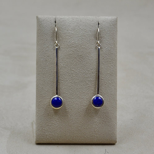 8mm Round Lapis Drop Wire Earrings by John Paul Rangel