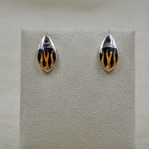 Flame Post S. Silver Earrings w/ Black Jade, Spiny Oyster, Opal by GL Miller