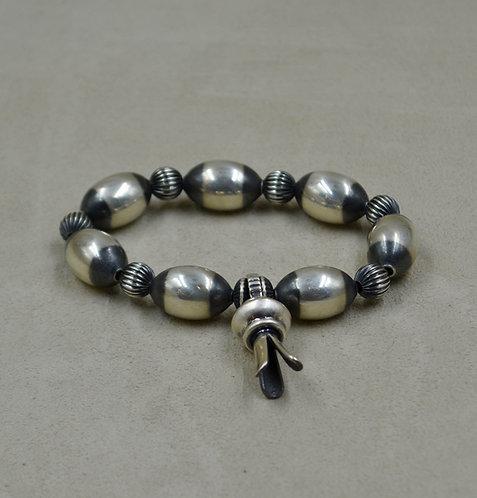 Sterling Silver Blossom Oval Bead Bracelet by Shoofly 505