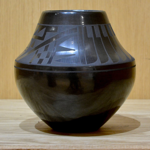 Black on Black Wide Feather Geometric Jar Pot by Erik Fender