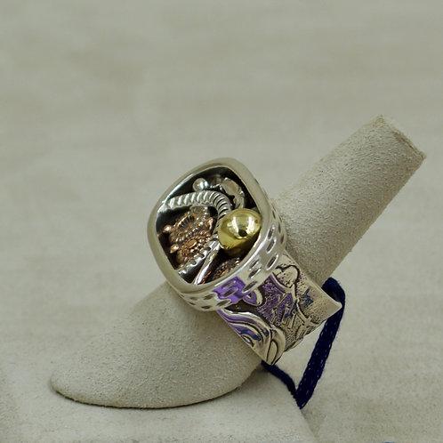 Sterling Silver, Copper, Brass Shadowbox 7.75X Ring by Melanie DeLuca