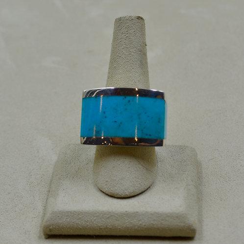 Blue Kingman Turquoise Wraparound Sterling Silver 10.75x Ring by JL McKinney