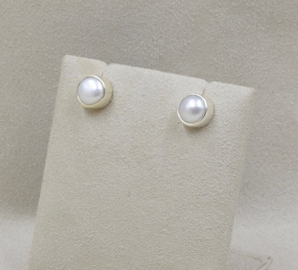 Sterling Silver Freshwater Pearl Button Earrings by Richard Lindsay