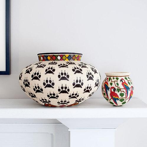 "Black Paws on White Wounaan Basket by Lubecia Membache - 12""W x 8""H"
