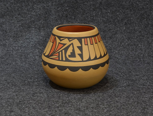 Polychrome Bowl with Feather Motif - by Cavan Gonzales - San Ildefonse