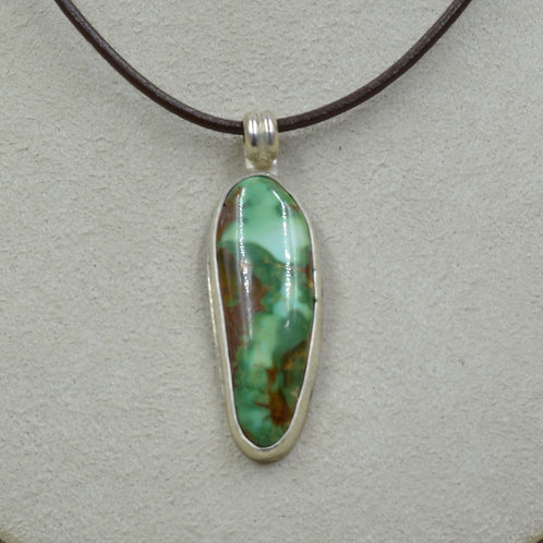 Natural Royston Turquoise & Sterling Silver Pendant by Joe Glover