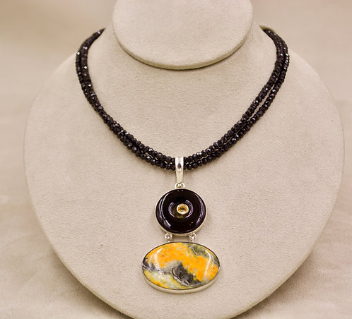 Double Black Spinel Faceted Necklace by Sanchi & Filia