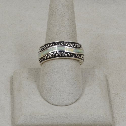 Lab Opal Multi-Clear & Sterling Silver 10x Ring by GL Miller Studio