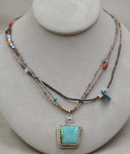3 Strand, S. Silver, Shell, Turquoise Pendant Necklace by Estefanita Ca'Win