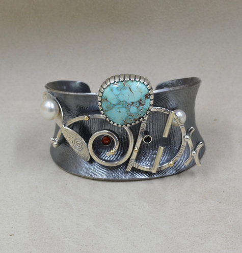 Oxydized Cuttle Cast Yei Cuff w/ FW Pearl, Nat. Armenian Turquoise, Coral, Gold