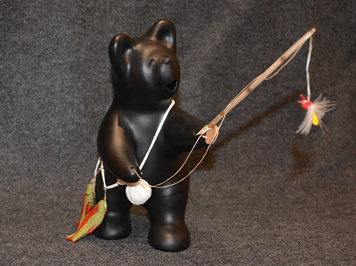 Large Bear Fisherman with Fish Sculpture by Randy Chitto