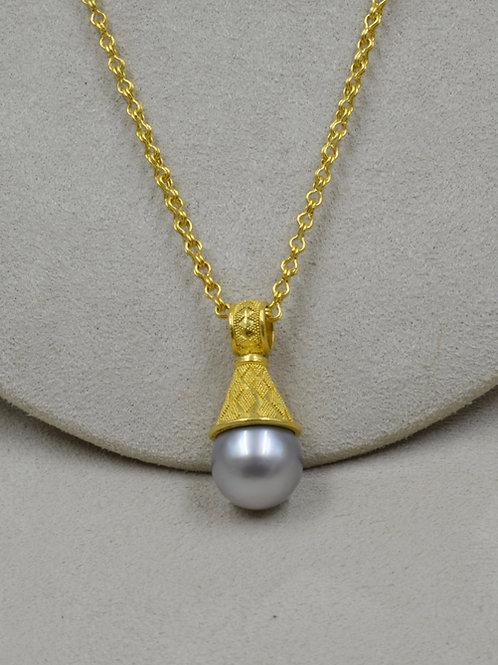 22k Gold w/ South Sea Pearl & Granulated Cap/Bail Pendant by Pamela Farland