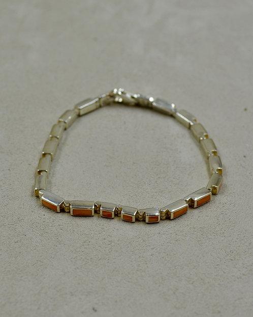 S Silver & Orange Spiny Oyster Skinny Inlay Tennis Bracelet by Peyote Bird