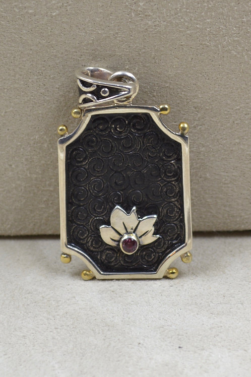 Sterling Silver Octagon Flower Pendant, 18k Plate, w/ Stone by Roulette 18
