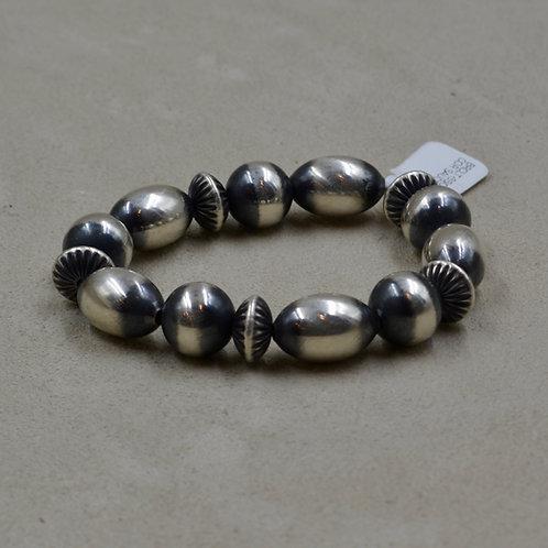 Oxidized Sterling Silver Oval Multi-Shaped Bracelet by Shoofly 505