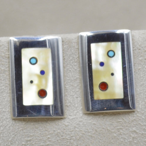 Low Dome Sterling Silver Earring by Veronica Benally