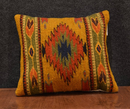 Set of 2 Centered Geometric Gold & Orange Zapotec Peanut Pillows