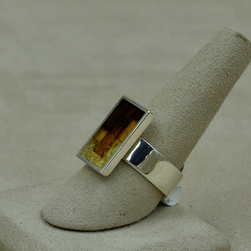 Amber Mosaic & Sterling Silver Rectangle Ring (adjustable) by MTM Silver