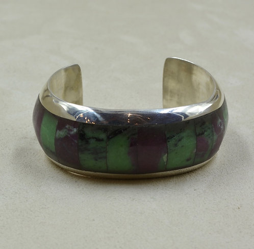 Sterling Silver Channel Inlay w/ Ruby & Zoisite Cuff by Vincent Gioielli