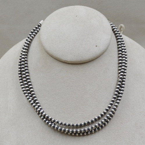 Oxidized Sterling Silver Oxidized 3-Strand 4mm Beaded Necklace by Maggie Moser