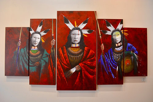 """""""Red Earth"""" 48"""" x 98"""" - Acrylic on Canvas - by Yellowman, Navajo"""