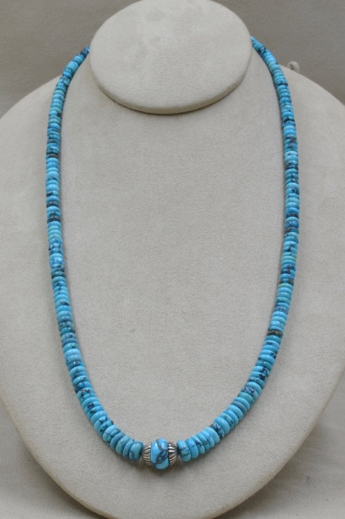 SS w/ Nat. Hi-Grade Hubei Turquoise & Hand-rolled Beads by Lapidary Mastery