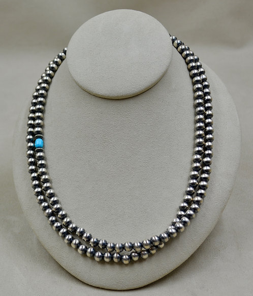 """7mm Sterling Silver & Turquoise 39"""" Beaded Necklace by Shoofly 505"""