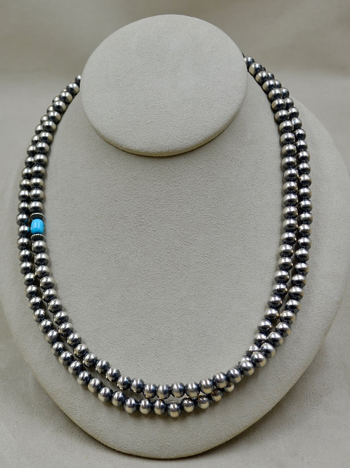 "7mm Sterling Silver & Turquoise 39"" Beaded Necklace by Shoofly 505"