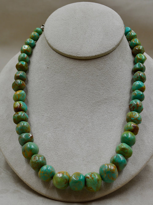 Handmade Beads of Natural Royston Turquoise & Sterling Silver Necklace
