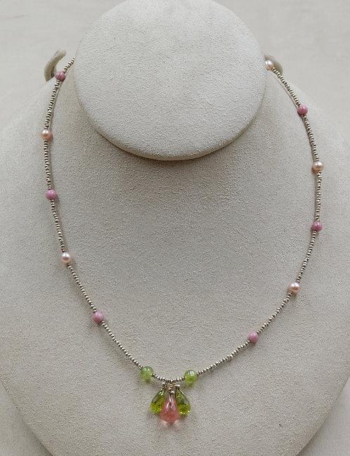 Pink & Green Tourmaline, Pearl, Rhodocrosite Necklace by Joan Kallas