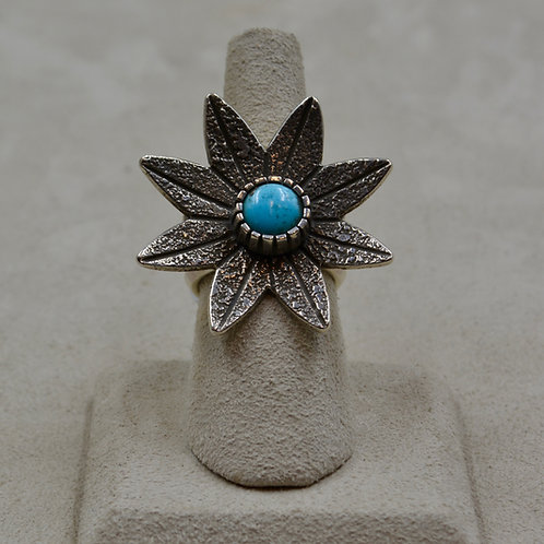 Natural Kingman Turquoise & Tufa Flower 7x Ring by Aaron John