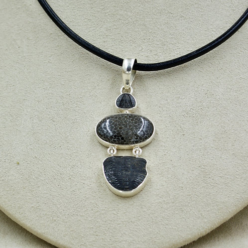 Fossilized Coral, Trilobite, Sterling Silver Pendant by Sanchi & Filia