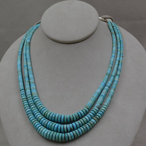 3 Strand Graduated Kingman Turquoise and Olive Shell Heishi by Kenneth Aguilar