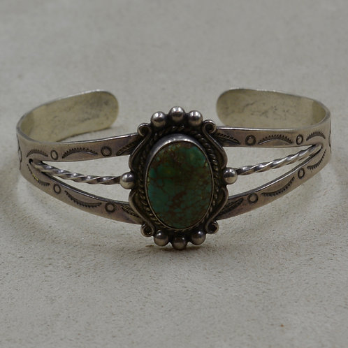 Vintage Fred Harvey Oval Turquoise w/ Rainclouds & Arrows Cuff