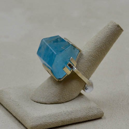 Sterling Silver w/ Large Aquamarine Nugget 7x Ring by Reba Engel