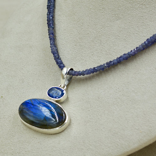 Labradorite, Iolite & Sterling Silver Pendant by Sanchi & Filia