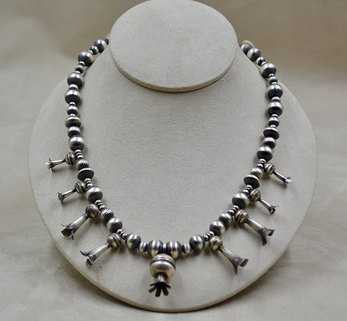 Sterling Silver Oxidized Squash Blossom & Navajo Pearls Necklace
