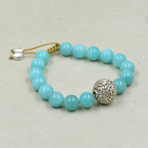 Meditaiton Bracelet w/ Amazonite & Thai Fine Silver by True West