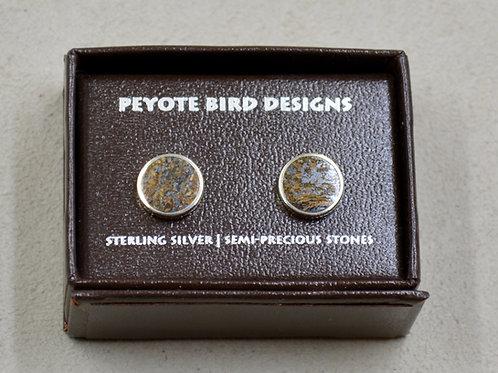 Flat Round Bronzite Post Earrings by Peyote Bird Designs