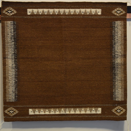 "Brown Zapotec Saddle Blanket - 34"" X 34"""