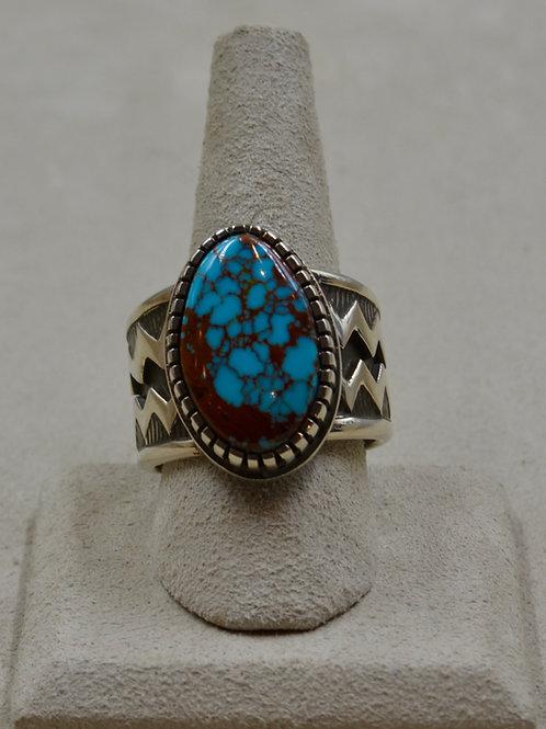 Hi-Grade Bisbee Turquoise Tufa Cast Oval Stone 13x Ring by Aaron John