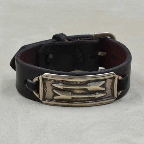 Double Arrows on Brown Leather w/ Ingot Silver Cuff by Buffalo