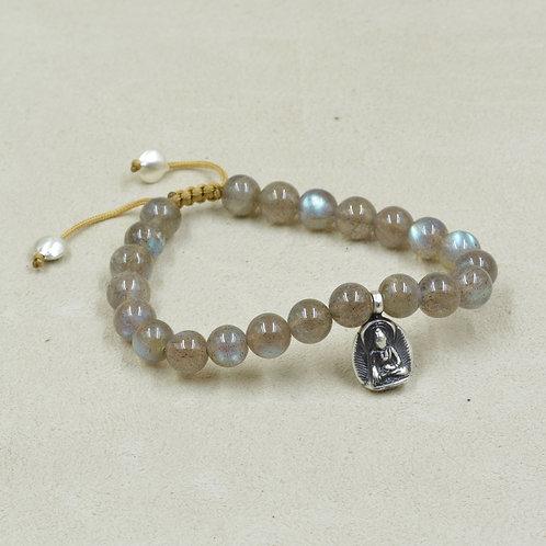 Meditation Bracelet w/ Labradorite, S. Silver Buddha and Ohm Charm by True West